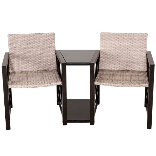 All Weather Patio Garden Wicker Table and Chair Set Wicker Conversation Furniture Set