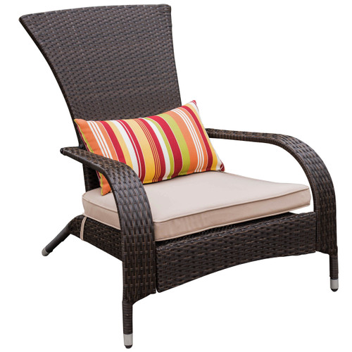 Deluxe Wicker Adirondack Chair Outdoor Patio Yard Furniture All-weather with Cushion and Pillow