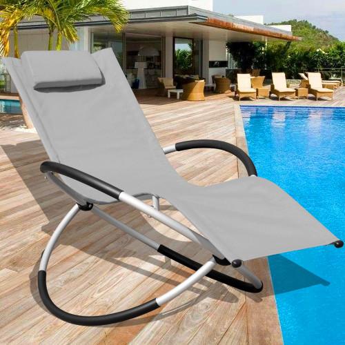 Orbital Zero Gravity Folding Rocking Patio Lounge Chair with Pillow,Capacity 250 Pounds