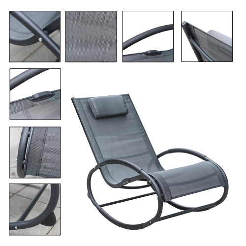 Patio Aluminum Zero Gravity Chair Orbital Rocking Lounge Chair With  Pillow,Capacity 250 Pounds,Grey