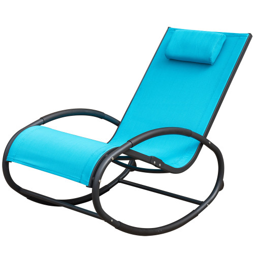 Patio Aluminum Zero Gravity Chair Orbital Rocking Lounge Chair with Pillow,Capacity 250 Pounds,Blue