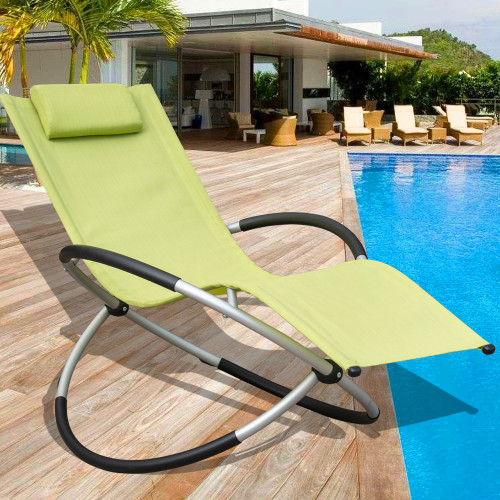 Orbital Zero Gravity Folding Rocking Patio Lounge Chair with Pillow