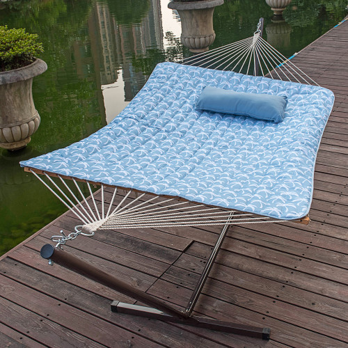 12 Feet Steel Hammock Stand with Cotton Rope Hammock Combo, Quilted Polyester Hammock Pad and Pillow, Palm Bay Light Blue