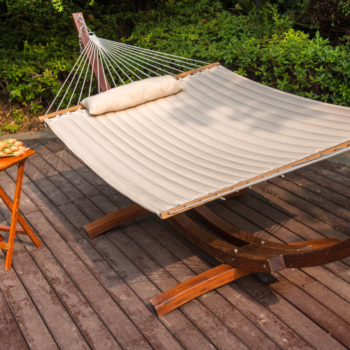 "55"" Double Quilted Fabric Hammock Swing with Pillow, Natural"