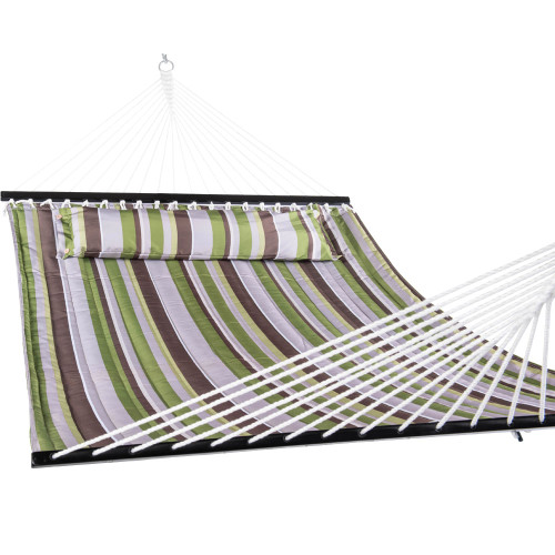 Double Quilted Fabric Hammock with Pillow, Green Stripe