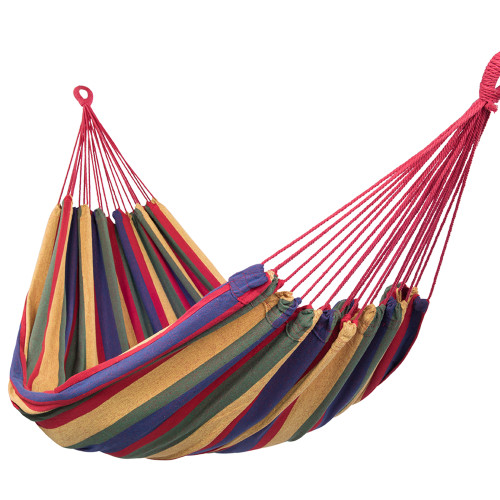 Outdoor Portable Double Size Canvas Hammock for Two Person with Carry Bag, 450 Pounds Capacity (Red)