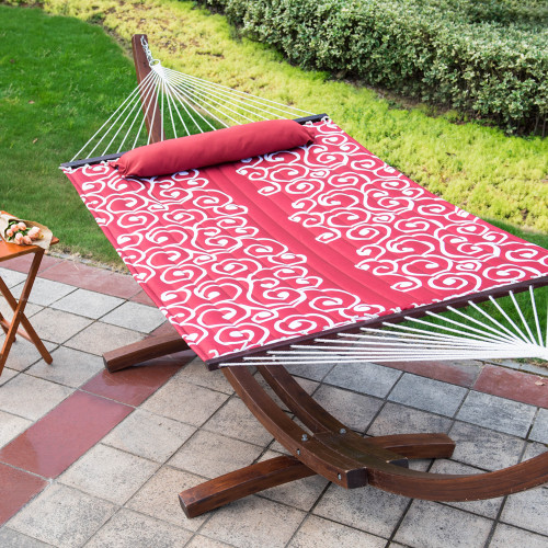 Quilted Fabric with Pillow for Two Person Double Size Spreader Bar Heavy Duty Stylish,Red Citrus