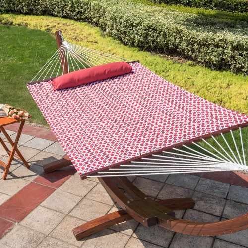 55inch Quilted Fabric Hammock With Pillow Double Size Spreader Bar Heavy Duty Stylish ,Cape Cod Red
