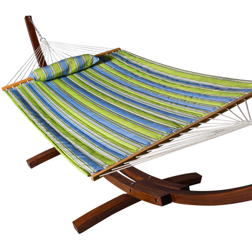LazyDaze Hammocks All Weather Olefin Fabric Quilted Hammock with Spread Bar for Two Person, Solution Dyed and UV Protection Fabric, 450 Pounds Capacity, Parrot Stripe