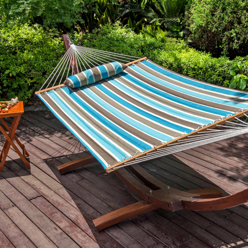 LazyDaze Hammocks All Weather Olefin Fabric Quilted Hammock with Spread Bar for Two Person, Solution Dyed and UV Protection Fabric, 450 Pounds Capacity, Cool Blue Stripe