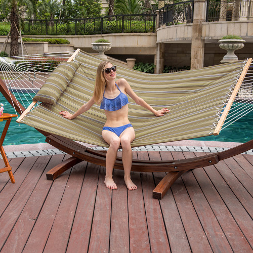 LazyDaze Hammocks Hammock Quilted Fabric with Pillow for Two Person Double Size Spreader Bar Heavy Duty Stylish, Tan