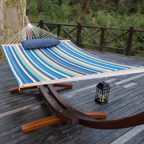 Sundale Outdoor Hammock Quilted Fabric with Pillow for Two Person Double Size Spreader Bar Heavy Duty Stylish, Beaches Stripe