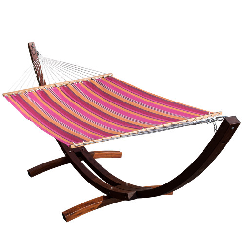 LazyDaze Hammocks 13 FT Poolside Hammock with Textliene Fabric and Hardwood Spreader Bar ,Red and Orange Stripe