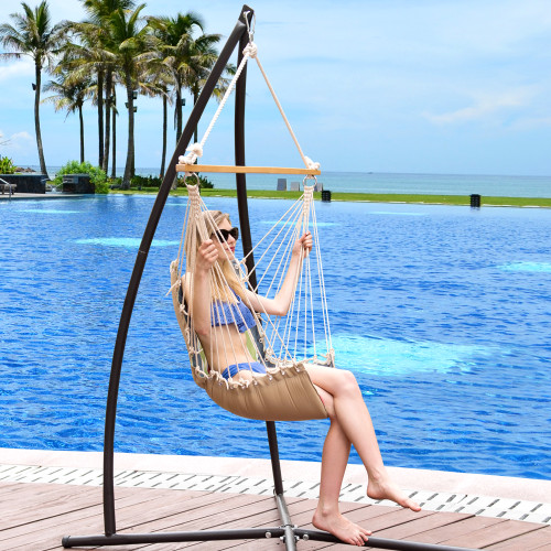 LazyDaze Hammocks Cushioned Hanging Hammock Swing Lounger Chair All Weather Rope Chair Cotton Padded Hammock Seat, Capacity 350 lbs, Blue/Red Stripes