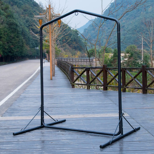 Deluxe Heavy Duty Coated Steel Swing Stand, Black, Capacity 450 Pounds