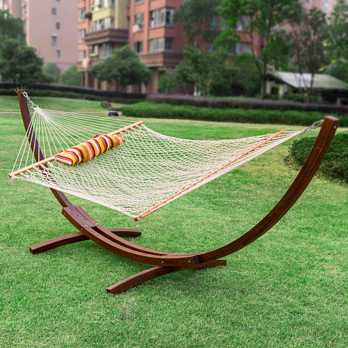 LazyDaze Hammocks 12Feet Wood Arc Hammock Stand and Hammock Combo Cotton Rope Hammock with Pillow and Spreader Bar Hammock Combo
