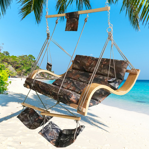 LazyDaze Hammocks Deluxe Oversized Double Hanging Rope Chair Cotton Padded Swing Chair Wood Arc Hammock Seat with Cup Holder,Footrest&Hardware, Capacity 450 lbs (Camouflage)