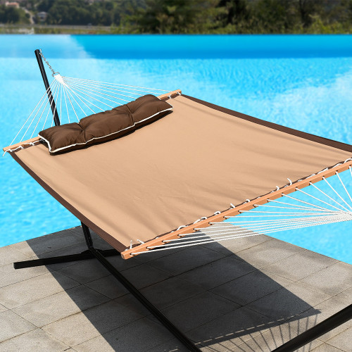 """LazyDaze Hammocks 55"""" Quick-Dry Woven Double Hammock Swing with Pillow for Two Person Heavy Duty, Tan"""