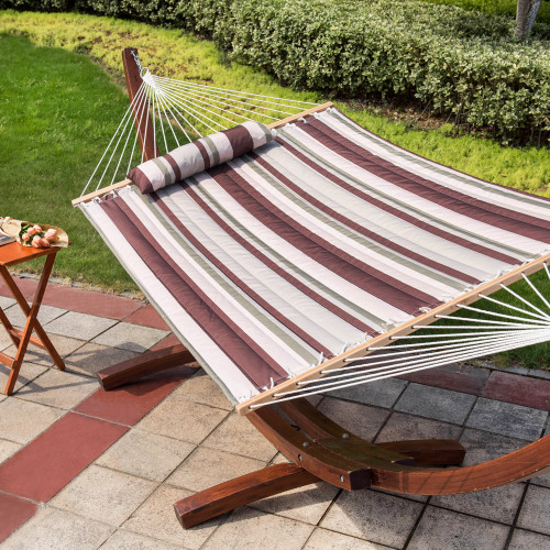 """LazyDaze Hammocks 55"""" Double Quilted Fabric Hammock Swing with Pillow for Two Person, Off-White/Green/Brown Stripe"""