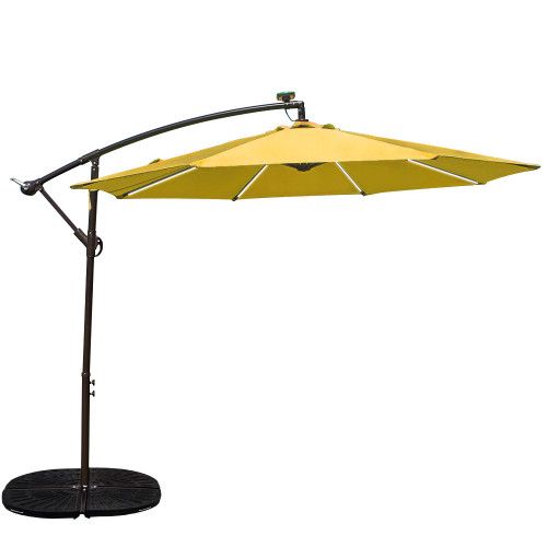 Sundale Outdoor 10 Feet Solar Powered LED Stripe Lighted Aluminum Offset Patio Umbrella with Crank, 8 Steel Ribs(Yellow)
