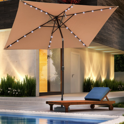 Sundale Outdoor Rectangular Solar Powered 26 LED Lighted Outdoor Patio Umbrella with Crank and Tilt, Aluminum, 9 by 6.5-Feet, Tan