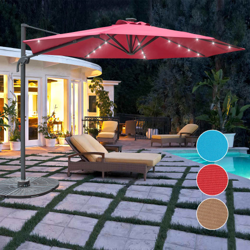 Sundale Outdoor 10FT Solar Powered 28 LED Lighted Umbrella Hanging Roma Offset Umbrella Outdoor Patio Sun Shade Cantilever Crank Canopy, Red