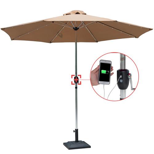 Sundale Outdoor Deluxe Solar Powered 32 LED Lighted Patio Garden Aluminum Market Umbrella with Crank, 10 Feet,Tan