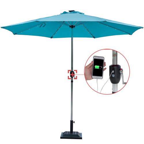 Sundale Outdoor Deluxe Solar Powered 32 LED Lighted Patio Garden Aluminum Market Umbrella with Crank, 10 Feet,Blue
