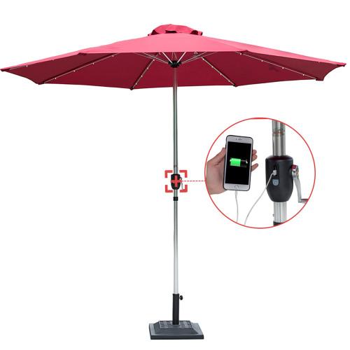 Sundale Outdoor Deluxe Solar Powered 32 LED Lighted Patio Garden Aluminum  Market Umbrella With Crank,