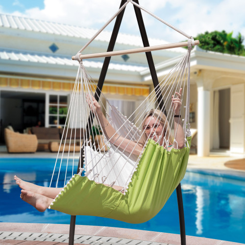 LazyDaze Hammocks Large Hanging Hammock Swing Lounger Chair Seat with Footrest and 2 Throw Pillows, Patio Porch Swing Seat, Capacity 350 lbs, Green/White