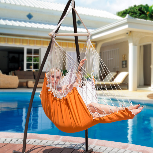 LazyDaze Hammocks Large Hanging Hammock Swing Lounger Chair Seat with Footrest and 2 Throw Pillows, Patio Porch Swing Seat, Capacity 350 lbs, Orange/White