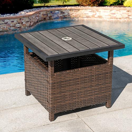 Sundale Outdoor Patio Umbrella Stand All Weather Wicker Rattan Umbrella  Table Garden Furniture Deck Pool Table