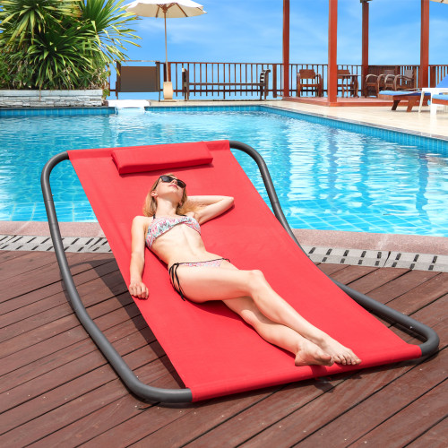LazyDaze Hammocks Patio Garden Outdoor Rocking Lounger Hammock Swing Bed with Pillow (Red)