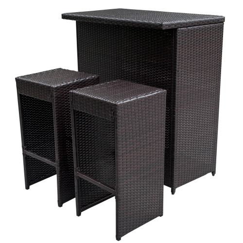 Amazing 3PC Wicker Bar Set Bar Table And 2 Bar Stools Set Patio Garden Backyard  Wicker Furniture