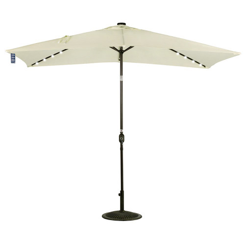 Rectangular Solar Powered 22 LED Lighted Outdoor Patio Umbrella(Light  Yellow)