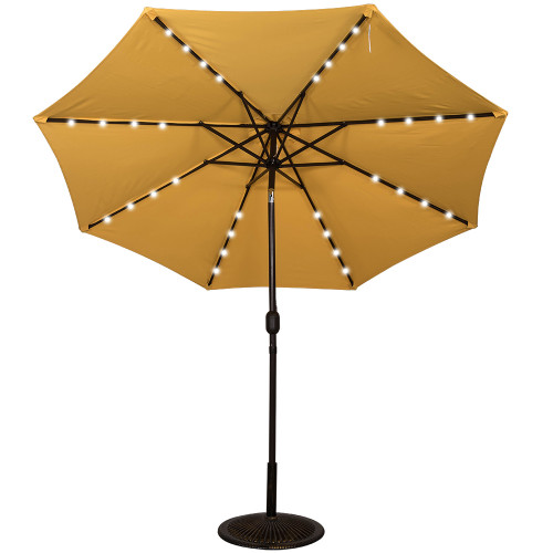 Good Solar Powered 32 LED Lighted Outdoor Patio Umbrella With Crank And Tilt, 9  Feet (Yellow)