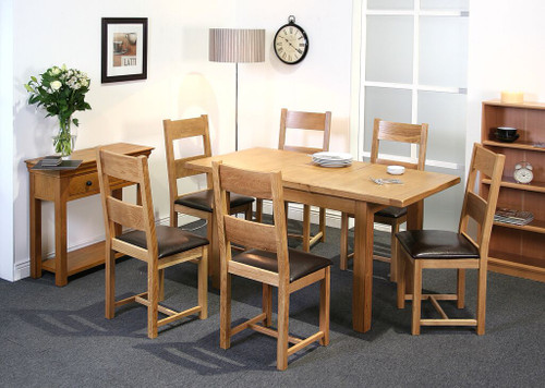 Calgary oak ext dining table with