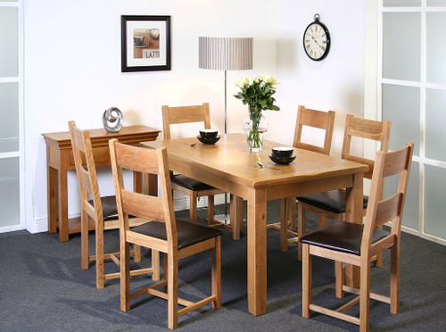 Calgary oak ft dining table with