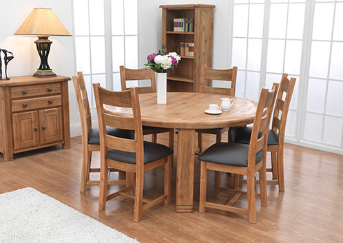 Danube Round Dining Table Set 156cm With 6 Danube Dining Chairs Ideal Furn