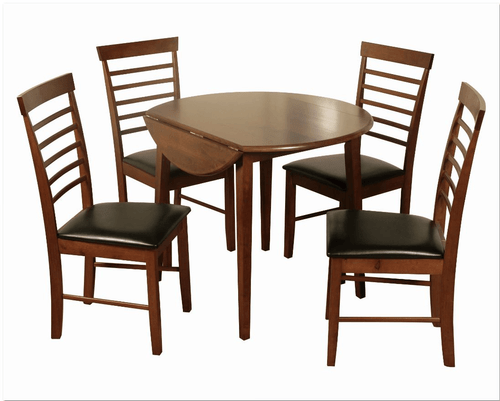Hanover dark round drop leaf dining set with 4 chairs for Wood dining sets with leaf