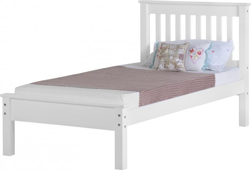 Monaco 3 39 bed low foot end white ideal furniture - Ideal furniture place end bed ...