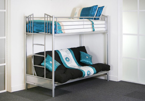 atlanta futon bunk beds adjustable lower bunk seating feature available in silver colour top 3ft size atlanta futon bunk bed   ideal furniture  rh   idealfurniture ie