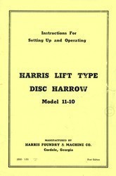 Case Harris Model 11-10  Lift Type Disc Harrow Operators Setting Up Manual