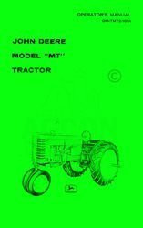 John Deere Model  MT Operators Instruction Manual JD