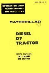CATERPILLAR D7 DIESEL OPERATORS MANUAL 7M1-7M9999 - 3TI