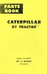 CATERPILLAR D7 D-7 Parts Book MANUAL 3TI - 3TI9999