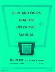 Oliver OC-9 OC-96 Crawler Tractor Operators Manual