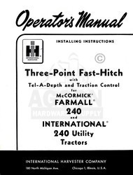 INTERNATIONAL 240 3 Point Fast Hitch Operators Manual