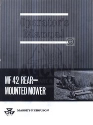 Massey Ferguson MF 42 MF42 Rear Mower Operators Manual