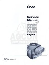 ONAN P216V P218V P220V Engine Service Manual 965--0763